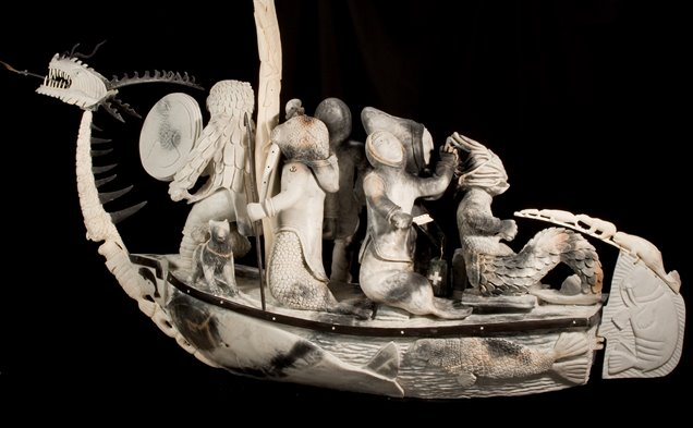 Bart Hanna's Inuit Art Sculpture titled Migration featuring Baleen Ivory Soapstone Master Artist workmanship of the finest quality